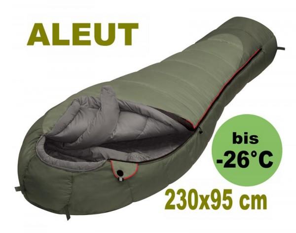 Schlafsack Aleut | Oliv | 230 x 95 x 65 cm | 3,2 kg | -26°C |