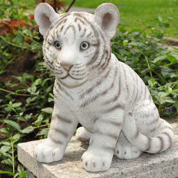 Gartenfigur Deko Figur sitzender weißer Tiger - 24 x 16x 23 cm