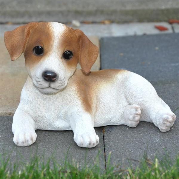Gartenfigur Deko Figur Hund Jack Russel liegend - 19 x 12 x 15 cm