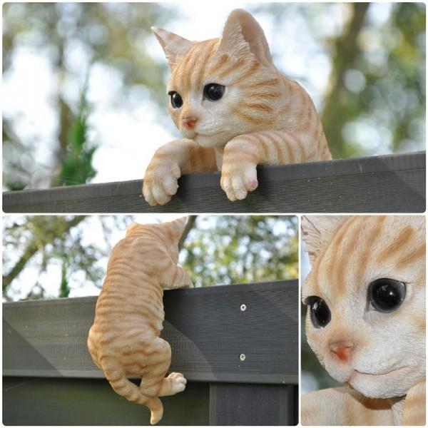 Deko Gartenfigur / Zaunfigur - kletternde Katze - 27 cm