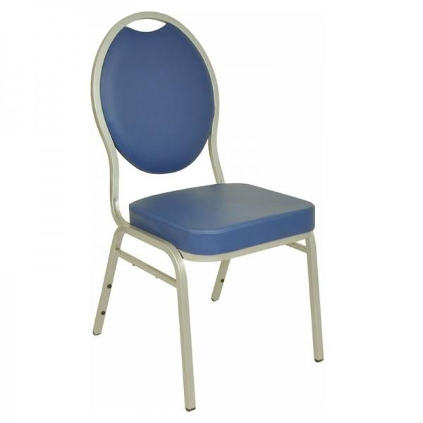 Stapelstuhl / Bankettstuhl in blau - pflegeleichter Kunstlederbezug