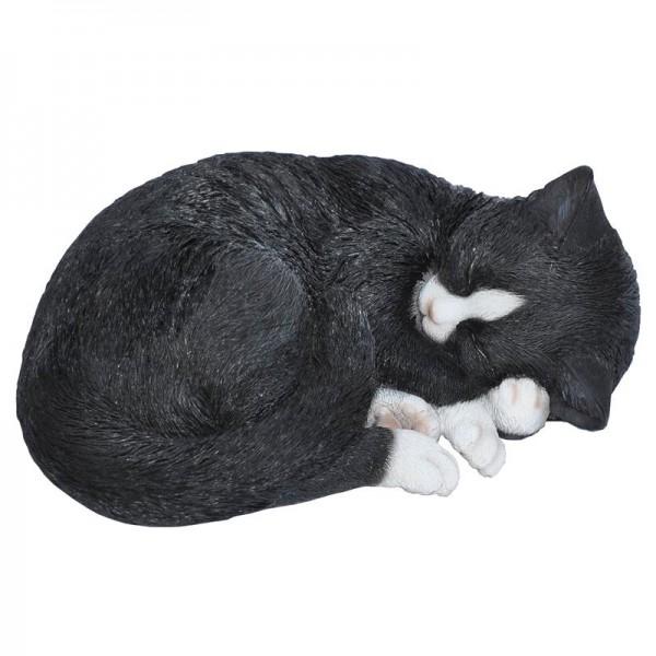 Gartenfigur Dekofigur schlafende Katze schwarz
