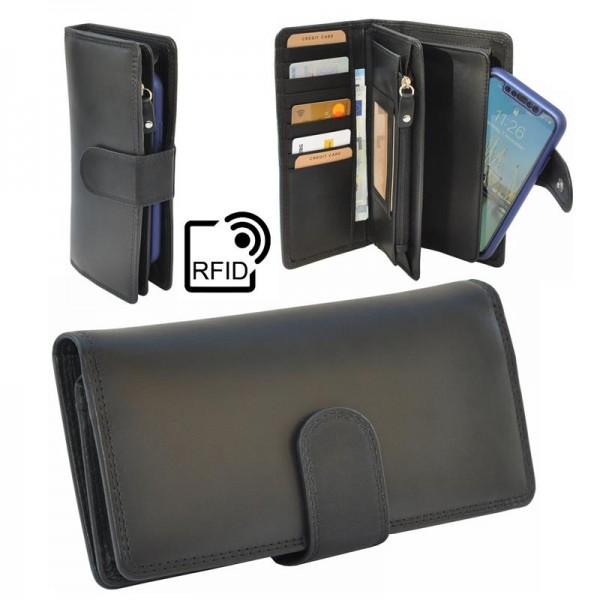 Damen Portemonnaie RFID kaufen | Geldbörse | Leder | Schwarz |