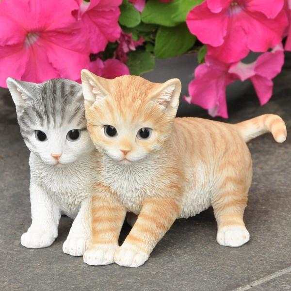 Gartenfigur Katzenpaar junge Katzen