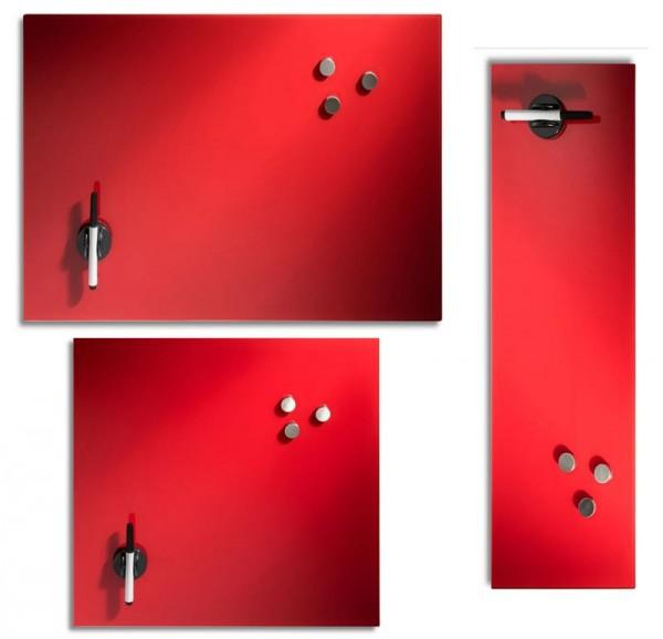 Memoboard Magnetboard Glas rot verschiedene Größen