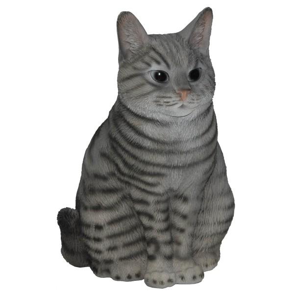"Garten Figur ""Katze sitzend"" Britisch Kurzhaar - Polyresin - 29 cm - grau"