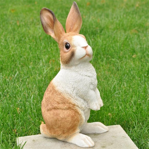 Garten Deko Figur Kaninchen - groß - aus Kunststein - 38 cm
