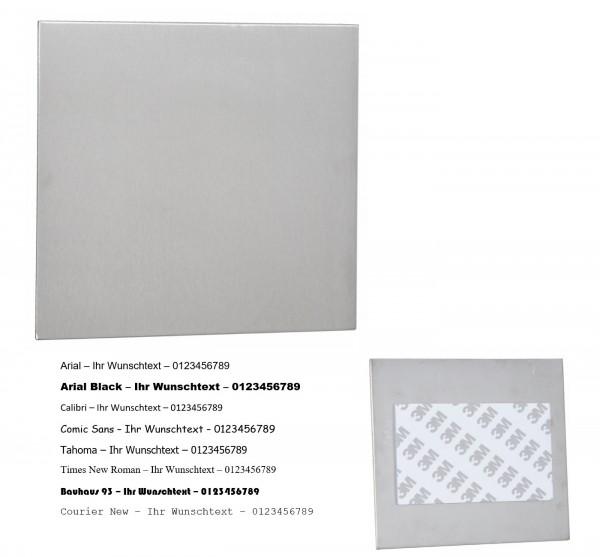 Edelstahlplatte 15x15 zum Kleben mit Gravur