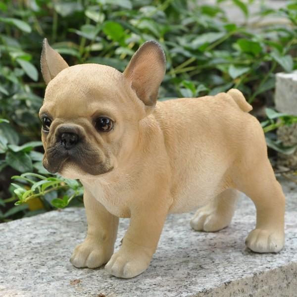 Gartenfigur Deko Figur Hund Französische Bulldogge braun wetterfest