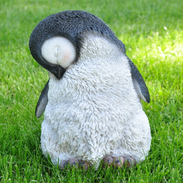 Gartenfigur Deko Figur schlafender Pinguin - 20 x 14 cm