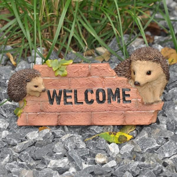 Gartenfigur Deko Igel Willkommen