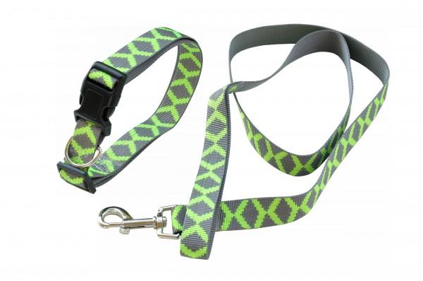 nanook Hundeleinen Set - Halsband 45-70 cm + Leine 120 cm grün