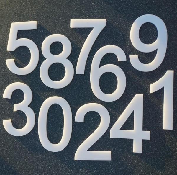 Hausnummer Grado - Acryl massiv weiß - Gr. XL 20 cm - Nr. 0-9