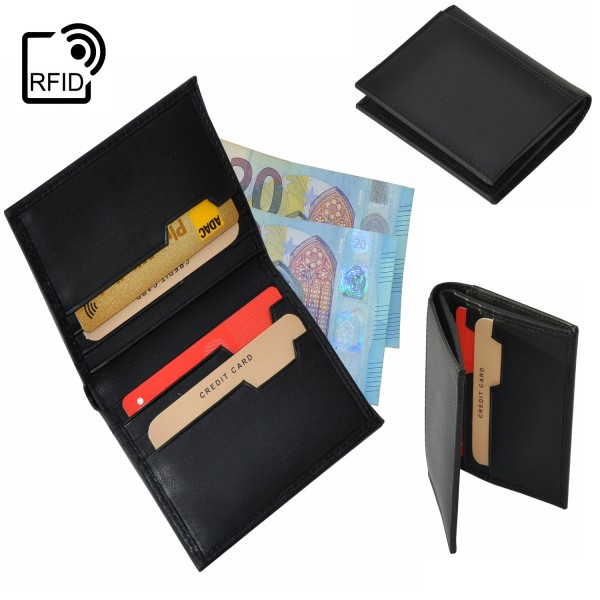 Kartenetui Kreditkarten Etui Kartenhalter Geldbörse Portemonnaie RFID Schwarz