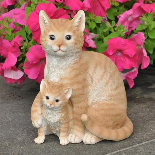 Gartenfigur Deko Katze mit Katzenbaby