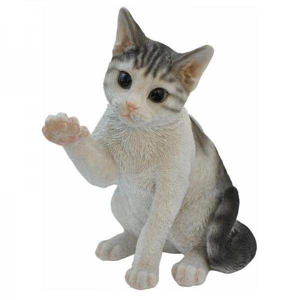 Gartenfigur winkende Katze | handbemalt | standfest | frostbeständig |