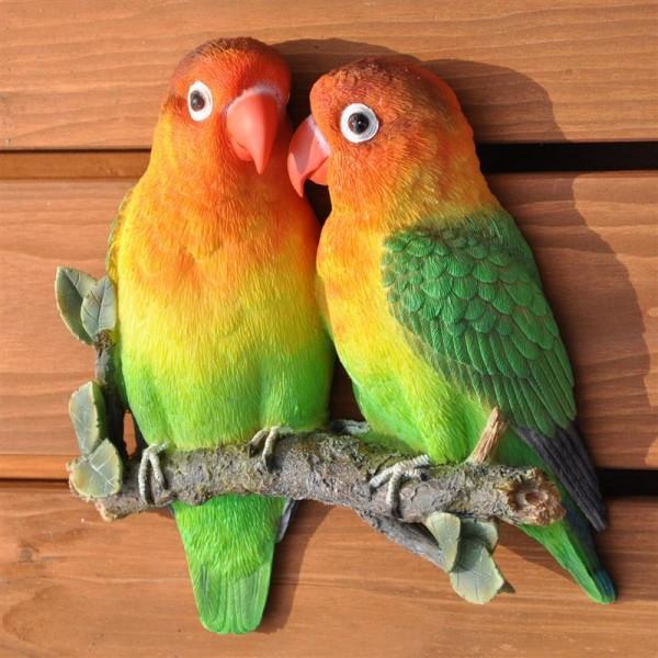 Gartenfigur Wanddeko Wandfigur Lovebirds Vögel