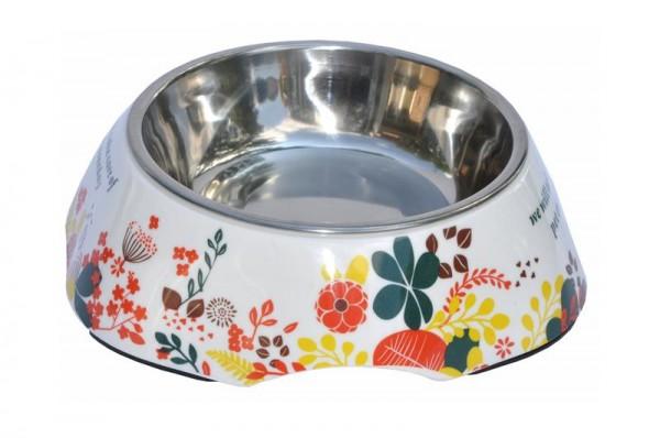 Futternapf 420 ml Design Blumen - Edelstahl