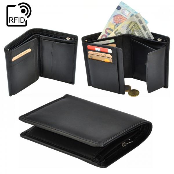 RFID Portemonnaie | Geldbörse | Herren | Quer | Schwarz | Leder |